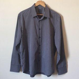 Hugo Boss | Men's Fitted Striped Dress Shirt XL